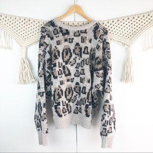 John and Jenn Anthropologie Leopard Print Sweater